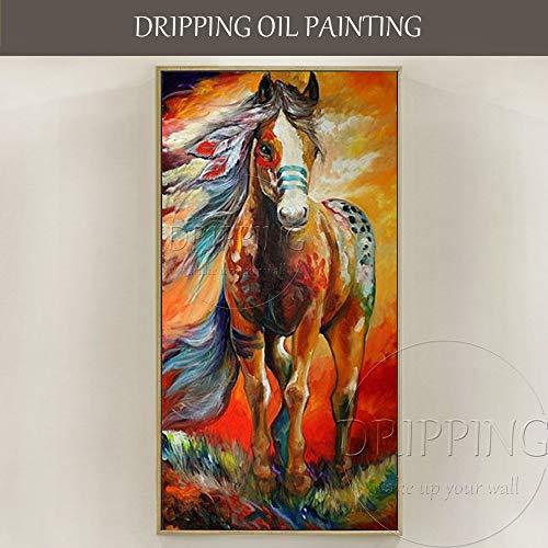 AFASSW muurkunst handgeschilderd hoogwaardig kleurrijk paard schilderij abstract gevecht ross oorbellen paard olieschilderij voor woonkamer voor woonkamer moderne inrichting grootte van de postmoderne wandplaat 130×260cm(52×104 inch)
