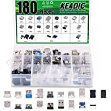 Keadic 180PCS USB 2.0, 3.0 Male Female Plug Jack Socket Connector Assortment Set, Including Micro USB Type B 5 Pin T Port Male Connector, Micro USB to Dip Adapter Board and 9-Pin Male Port Connectors