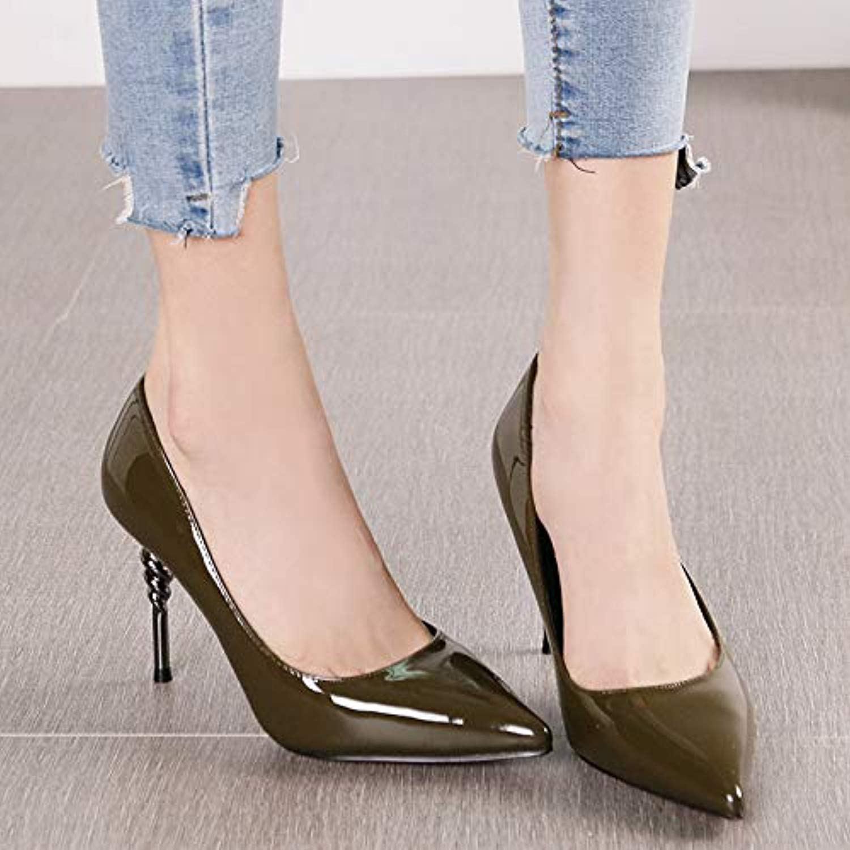 Pumps Pumps Mode Spitze Metall Stiletto Heels weibliche Schwarze Lackleder flachen Mund einzelne Schuhe, 36, grün  Null Gewinn