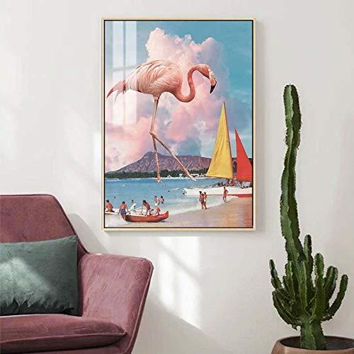 Puzzle 1000 piezas Pink flamingo beach cielo estrellado pintura de paisaje pintura de arte abstracto nórdico puzzle 1000 piezas adultos Juego de habilidad para toda la familia50x75cm(20x30inch)