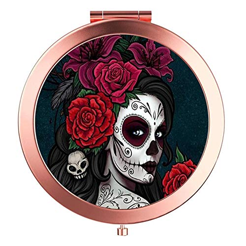Rose Gold Travel Purse Mirror Compact Double Sides 2x & 1x Magnification Hand Mirror Metal Round Bohemian Mirror for Women and Girls-Sugar Skull
