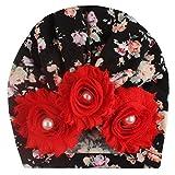 ZHOUBA Mädchen Turban-Mütze, Kunstblume, Perlenkappe, Turban, elastisch, Beanie Foto Requisite