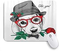 EILANNAマウスパッド 犬ビーグルグレーハットレッドローズグラス ゲーミング オフィス最適 高級感 おしゃれ 防水 耐久性が良い 滑り止めゴム底 ゲーミングなど適用 用ノートブックコンピュータマウスマット