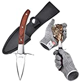 Oyster Knife with Cut-Resistant Gloves Set, Stainless Steel Oyster Shucker Set with Wooden Non-Slip Handle and Leather Shealth