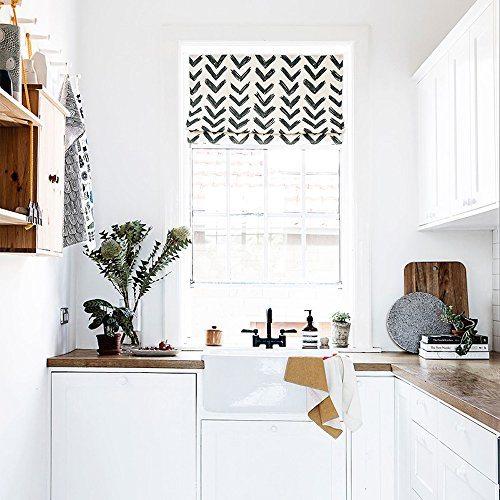 KARUILU home Quick Fix Washable Roman Window Shades Flat Fold, Black and White Pattern (34W x 63H, Inkflow)