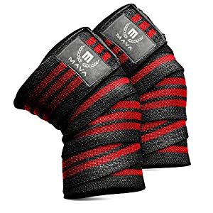 """Knee Wraps for Cross Training WODs,Gym Workout,Weightlifting,Fitness & Powerlifting– Pair- Best Knee Straps for Squats -for Men & Women- 72""""-Compression and Elastic Support by Mava8482;"""