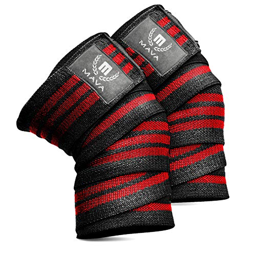 "Knee Wraps for Cross Training WODs,Gym Workout,Weightlifting,Fitness & Powerlifting– Pair- Best Knee Straps for Squats -for Men & Women- 72""-Compression and Elastic Support by Mava8482;"
