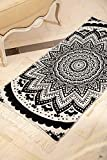 SOLTAKO Kelim Tappeto con frange Lavabile, utilizzabile su entrambi i lati, 100% vegano, vintage, orientale Berber Chindi, motivo etnico (nero/ecru modello Bohemia, 135 x 65 cm)