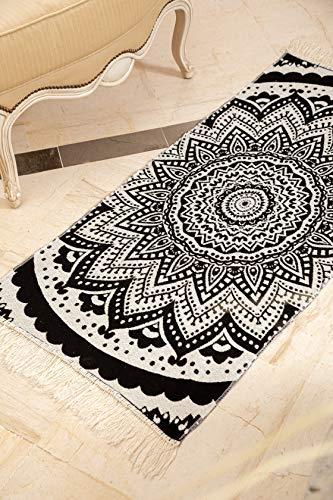 SOLTAKO Kelim - Alfombra de pasillo con flecos y estampado retro, bohemio, étnico, estilo marroquí, lavable, modelo bohemio, color negro y crudo, 135 x 65 cm