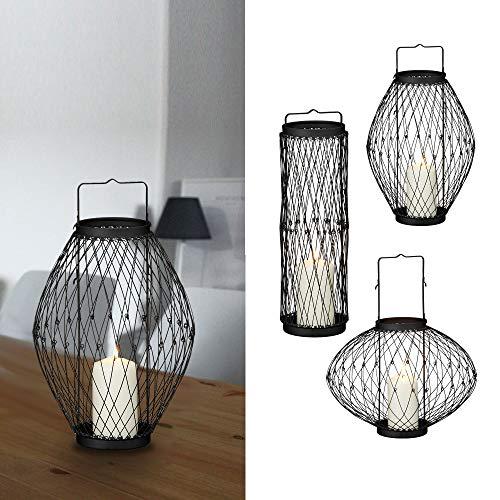 Cepewa Metalllaterne schwarz 3in1 flexibel Windlicht Kerzenhalter Gartenlaterne