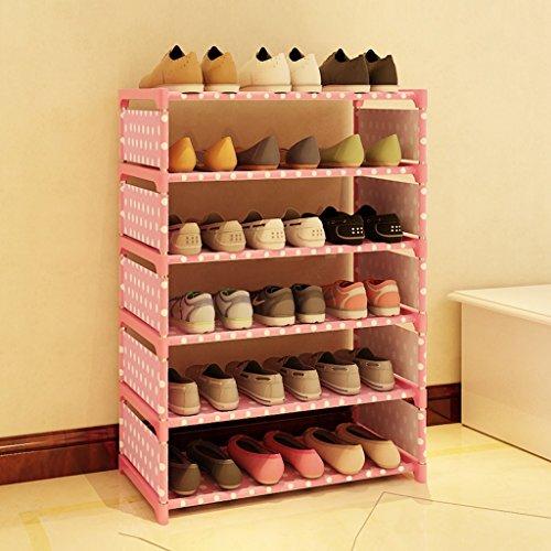 Hyun Times Schuhständer Einfache mehrstöckige Tuchschränke Multifunktionale Staub Schlafzimmer Schlafsaal Haus sechs - geschossige...