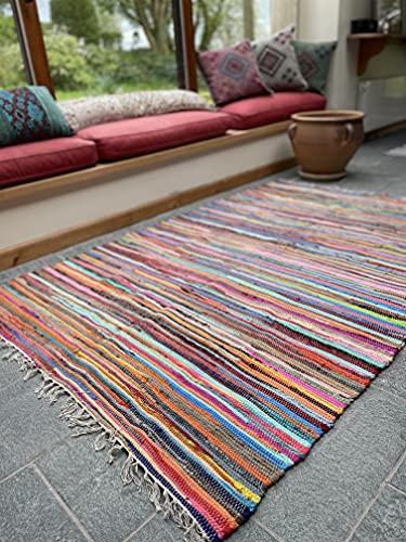 Hermosa alfombra multicolor Chindi Rag, comercio justo de Second Nature, algodón, Multi Colours, 120 cm x 180 cm