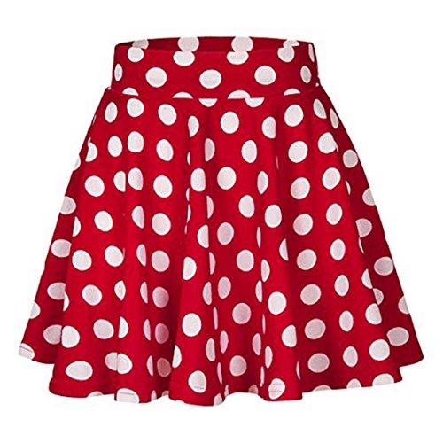 FAMILIZO_Faldas Cortas Mujer Verano Faldas Tubo De Moda Faldas Tul Mujer Faldas Altas De Cintura Faldas Acampanadas De Mujer Mini Faldas Lunares (M, Rojo)