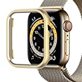 Miimall Schutzhülle Kompatibel mit Apple Watch 40mm Hülle, Aluminiumgehäus Rahmen Metall Stoßstange Cover Kratzfester Stoßfest Schutz Hülle für Apple Watch 6/5/4/SE - Gold