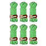 TRIWONDER Reflektierende Nylonschnur mit Seilspanner, Abspannseile Paracordseil für Zelt, Zeltplane, Camping (Grün)