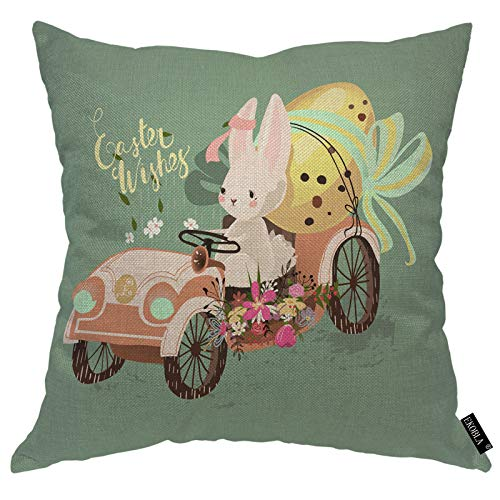 EKOBLA Easter Wishes Throw Pillow Covers Cute Bunny Rabbit Hare Vintage Car Decorated Easter Golden Egg Decorative Square Cushion Case for Merry Christmas Men Women Home Decor Cotton Linen 16x16 Inch