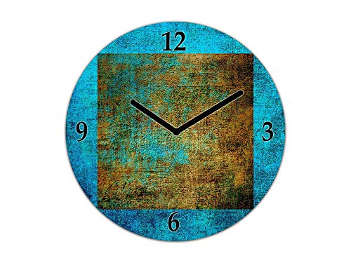 Concept Crystal Glass Wanduhr - Wanduhr Einzigartiges Design - Silent Clock für Home Decor TG10B Oberflächen Serie Oval Grunge Designs