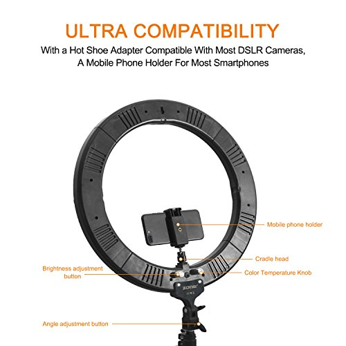 LED Ring Light with Stand, Zomei 18 Inches Ring Light for Camera Smartphone Youtube Video Shooting and makeup, Dimmable 2700-5500K Studio Lighting with Phone Holder, Hot Shoe and Carrying bag