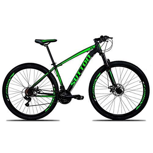 Bicicleta Sutton New Aro 29 Freio a Disco Hidráulico 21 Marchas Câmbios Shimano (PRETA-VERDE, 19)