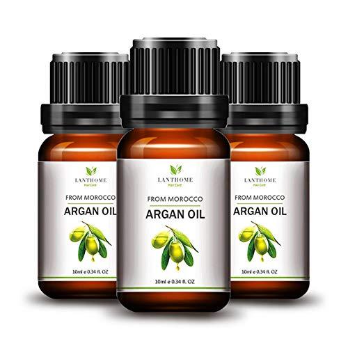 yiitay Huile essentielle d'argan pour cheveux – Pure bio pressée à froid du Maroc, huile de traitement capillaire, essences nourrissantes, produit de soins capillaires pour homme et femme 10 ml x 3
