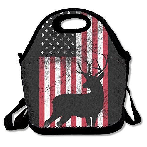 Bandera de caza de ciervo bolsa para el almuerzo bolsa bolso fiambrera para la escuela trabajo al aire libre