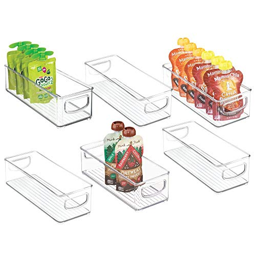 """mDesign Stackable Plastic Kitchen Pantry Cabinet, Refrigerator or Freezer Food Storage Bins with Handles - Organizer for Fruit, Yogurt, Squeeze Pouches - Food Safe, BPA Free, 10"""" Long, 6 Pack - Clear"""