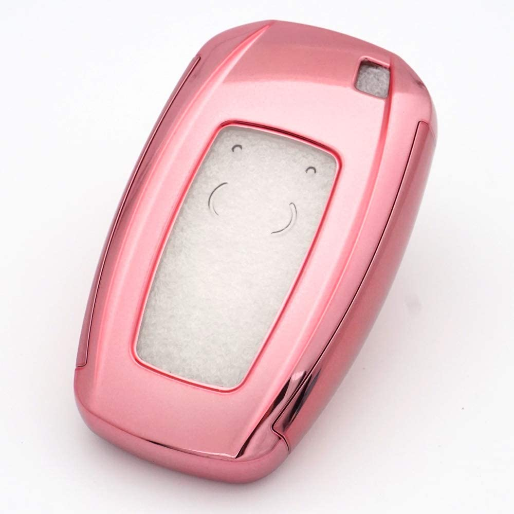 3 4 Buttons TPU Smart keyless Entry Remote Key Fob case Cover for 2017 2018 2019 2020 Lincoln Continental MKC MKZ Navigator Royalfox TM Pink and Clear