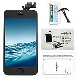 trop saint Écran pour iPhone 5 Noir - Kit de Réparation LCD Complet avec Notice, Outils, Tapis de Repérage Magnetique et Verre Trempé
