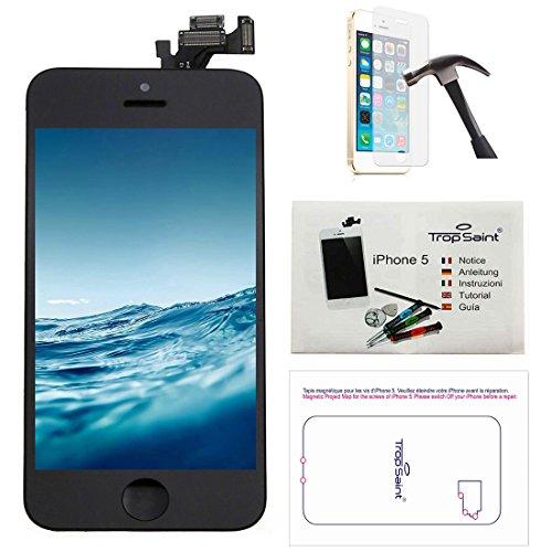 Trop Saint Kit di Riparazione Vetro Schermo per iPhone 5 Nero Ricambio Completo LCD Display - con Istruzioni, Attrezzi e Pellicola Protettiva in Vetro Temperato
