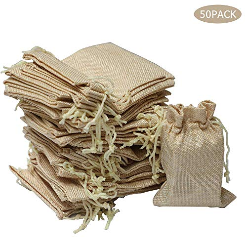 in iuta iuta sacchetti regalo Sacchetti di lino con coulisse Kojoon ideale per matrimoni 50 pezzi