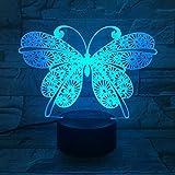 Mariposa 3D Interruptor táctil de luz nocturna 7 Cambio de color LED Lámpara de mesa USB Luces nocturnas Decoración para el hogar KidsGift