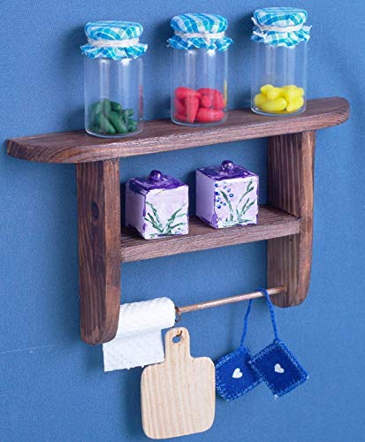 Kitchen wall shelf dollhouse wooden furniture 1:6 scale 12 inch dolls for Barbie Blythe miniature accessories role-playing games bookshelf flowers shelf