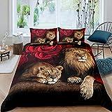 Erosebridal Lion Rose Duvet Cover Sets King Size, Animal Floral Print Comforter Cover Nature Theme Design Bedding Set for Kids Youth Adult, Modern Brown Lion Quilt Cover Decor Room