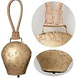 LS-LebenStil Kuhglocke Eisen 25cm Gold Braun Lederband Nostalgie Glockenschelle