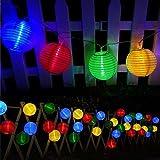 Guirlande Lumineuse Lampe Solaire Exterieur Jardin, Bawoo 30 LED Lampe Lampion Décoration Noël Guirlande Guinguette Lanternes Solaire Etanche IP65 - Multicolore