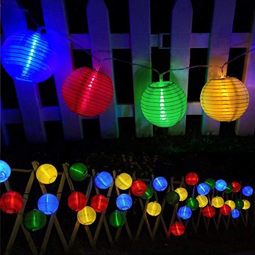 Guirnaldas de Luces Solar Jardín LED Bawoo 30 LED Guirnaldas Luces Exterior 5,5m Impermeable IP65 Guirnalda Luces Decoración Exterior y Interior Luz Navidad Fiesta Ceremonia Jardín Casa (Multicolor)