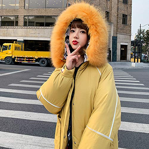 KOUPNLTM Parka À Capuche Femmes Hiver Long Coton Manteaux Femme Vogue Warm Parka Vestes XL Jaune