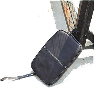 حقيبة يد جلدية أصلية من الجلد المدبوغ نباتيًا حقيبة يد جلدية مناسبة للترفيه في السفر (اللون: أسود، المقاس: S)