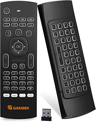 Android Remote MX3 Pro Backlit(New Version), Gimibox 2.4G Backlit Wireless Keyboard & Key-Learning, Best for Android TV Box/PC/Smart TV/Projector/HTPC/All-in-one PC/Xbox/Raspberry Pi