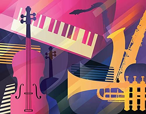 WOTAKA Diamant-Malsets, Abstract Jazz Art Trompete Kontrabass-Saxophon und Klavier, für Erwachsene Full Drill Canvas Patterns Arts Home Wall Decor (12