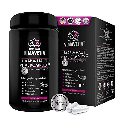 VIMAVETIA HAAR & HAUT VITAL KOMPLEX, Hochdosiert, vegan, 5000 mcg Biotin+ Zink+ Selen, Silizium, Hirse-Extrakt, gesundes Haarwachstum, Haut und Haar-Vitamine, Vitamin B Complex,180 DRCaps®Laborgeprüft