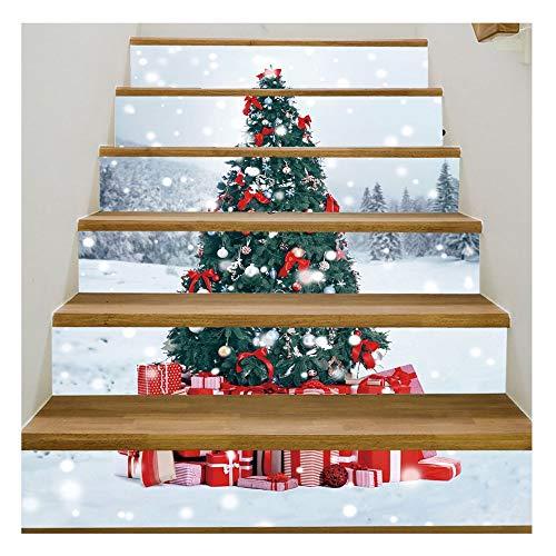 JCCOZ-URG Navidad 3D for escaleras Las Etiquetas engomadas-6pcs / Set del árbol de Navidad de escaleras Risers Las Etiquetas engomadas desprendibles de la Escalera Adhesivos Impermeables engomadas de
