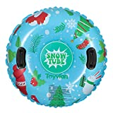 TOYANDONA Inflatable Snow Tube, 37 inch Wear Resistant Snow Sled Snow Tube with Handles for Kids or Adults