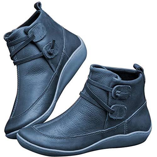 2019 Botas para Mujer, Soporte del Arco, Cómodos Botines de Deslizamiento Plano para Mujer, Zapatos Casuales para Mujer Otoño Invierno con Hebilla con Cremallera (40, Azul D)
