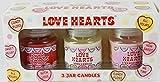 Swizzels amor corazones velas perfumadas (3tarro Set de regalo)