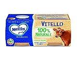 Mellin Omogeneizzato Vitello mit Fleisch und Reismehl homogenisiert Kalbfleisch Babynahrung ab 4 Monaten 2x80g