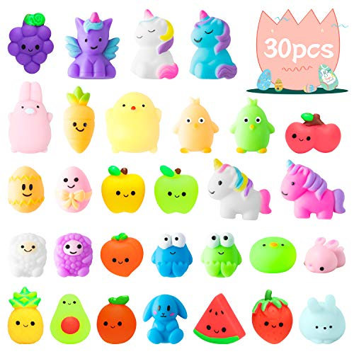 WATINC 30Pcs Easter Mochi Squeeze Toys Set for Kids Kawaii Mini Soft Fruit Squeeze Toys Easter Animal Squeeze Toys for Stress Relief Gift Decoration for Easter Party Favor Basket Fillers