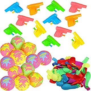 Jenna Water Theme Party Birthday Favors - 12 Splash Balls, 12 Mini Squirt Guns and 50 Balloons for Kids of All Ages - Fun Pool, Beach, Lake Toys - Bright Assorted Colors