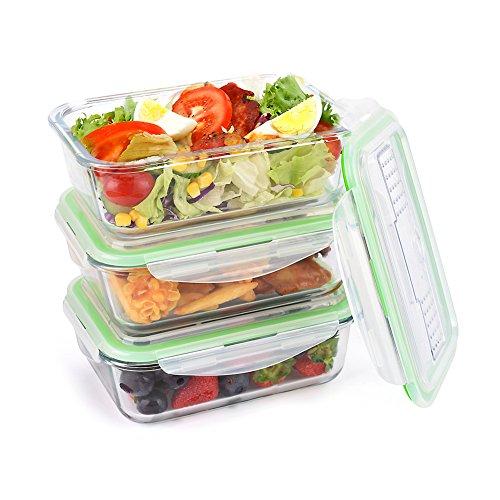 Symbom Boîtes Alimentaire en Verre Boîte à Déjeuner Hermétiques 1050m l(Lot de 3) et Adaptées au Four, au Micro-Ondes, au Congélateur et au Lave-Vaisselle Couteau et Fourche Réutilisables - sans BPA