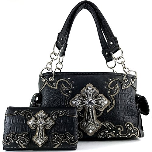 Justin West Paisley Embroidery Floral Tooled Leather Rhinestone Cross Shoulder Concealed Carry Handbag Purse (Black Paisley Set)